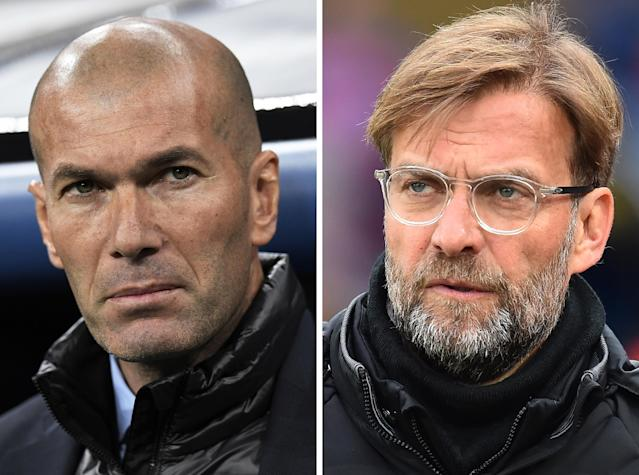 Real Madrid manager Zinedine Zidane and Liverpool boss Jurgen Klopp will square off in the 2018 Champions League final. (Getty)