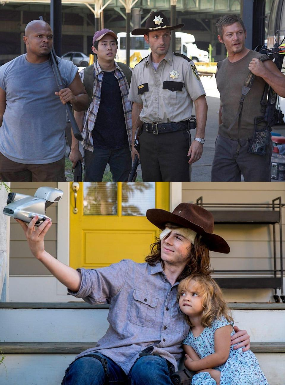 TWD Rick and Carl wearing hat