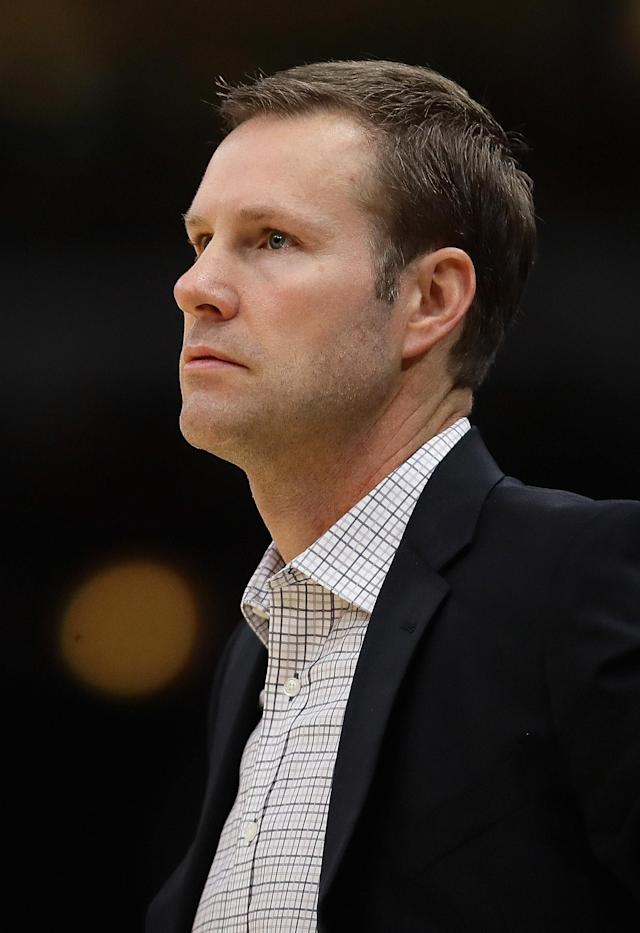 CHICAGO, ILLINOIS - NOVEMBER 17: Head coach Fred Hoiberg of the Chicago Bulls watches as his team takes on the Toronto Raptors at United Center on November 17, 2018 in Chicago, Illinois. (Photo by Jonathan Daniel/Getty Images)