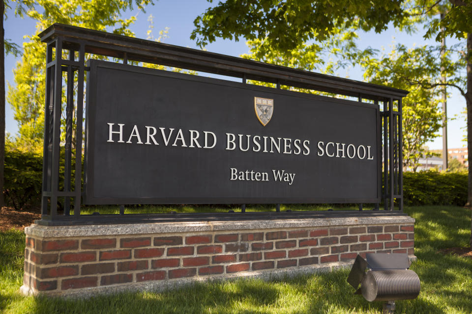 Boston: Harvard Business school building in Cambridge Massachusetts USA.  Harvard Business School (HBS) is the graduate business school of Harvard University in Boston, Massachusetts, United States. The school offers a large full-time MBA program, doctoral programs, HBX and many executive education programs. It owns Harvard Business Publishing, which publishes business books, leadership articles, online management tools for corporate learning, case studies and the monthly Harvard Business Review.