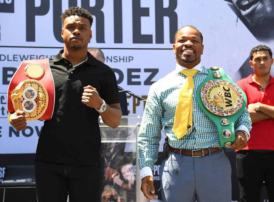LOS ANGELES, CA - AUGUST 13: IBF Welterweight World Champion Errol Spence Jr. and WBC Welterweight World Champion Shawn Porter face off during a press conference at STAPLES Center Star Plaza to preview their upcoming Welterweight World Championship fight on August 13, 2019 in Los Angeles, California. (Photo by Jayne Kamin-Oncea/Getty Images)