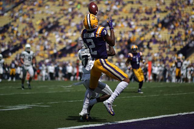 LSU WR Justin Jefferson put on a show against Utah State and faces a great challenge on Saturday night. (Getty Images)