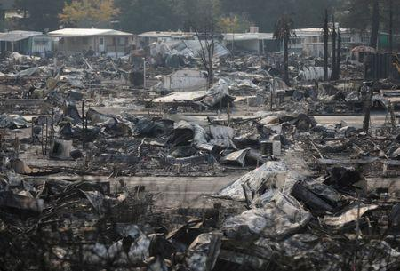 The remains of a mobile home park where fatalities took place when it was destroyed in wildfire are seen in Santa Rosa, California