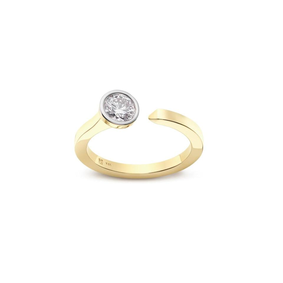 """For a more affordable ring in this style, consider a lab-grown diamond from a direct-to-consumer brand like Lightbox Jewelry. We're into this open-top design which would stack nicely with a blue or pink diamond gold ring. $700, Lightbox Jewelry. <a href=""""https://lightboxjewelry.com/collections/rings/products/rings-0-5carat-solitaire-open-top-ring-white"""" rel=""""nofollow noopener"""" target=""""_blank"""" data-ylk=""""slk:Get it now!"""" class=""""link rapid-noclick-resp"""">Get it now!</a>"""