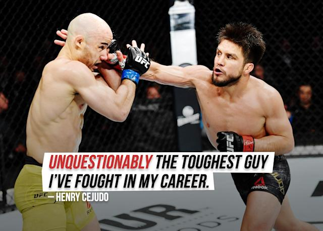 """Henry Cejudo tells Yahoo Sports columnist Kevin Iole about <a href=""""https://sports.yahoo.com/henry-cejudo-marlon-moraes-is-unquestionably-the-toughest-guy-ive-fought-144202977.html"""" data-ylk=""""slk:his fight against Marlon Moraes;outcm:mb_qualified_link;_E:mb_qualified_link;ct:story;g:undefined;"""" class=""""link rapid-noclick-resp yahoo-link"""">his fight against Marlon Moraes</a>."""