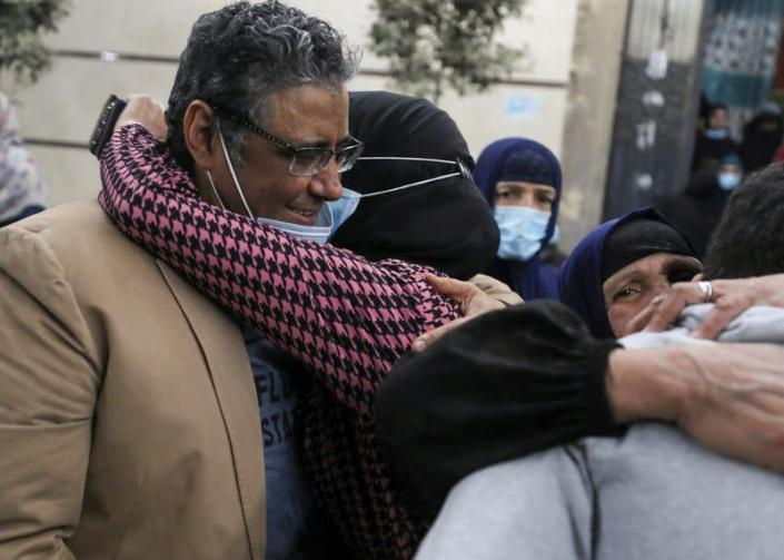 Journalist Mahmoud Hussein released by Egyptian authorities after four years in detention accused of publishing false news, in Abou Al Nomros, in Giza
