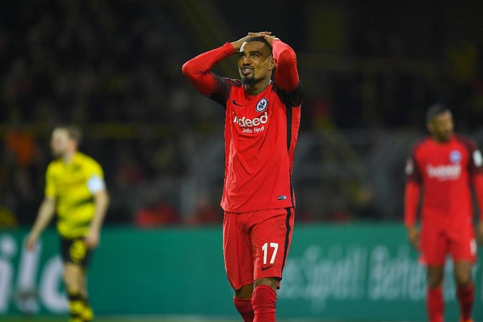There was agony for Kevin-Prince Boateng as his Eintracht Frankfurt side suffered a last-gasp defeat at Borussia Dortmund (AFP Photo/Patrik STOLLARZ)
