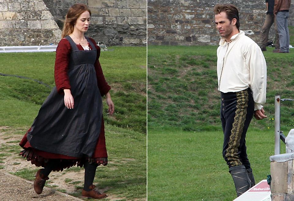 Emily Blunt and Chris Pine on the set of 'Into the Woods' on Wednesday
