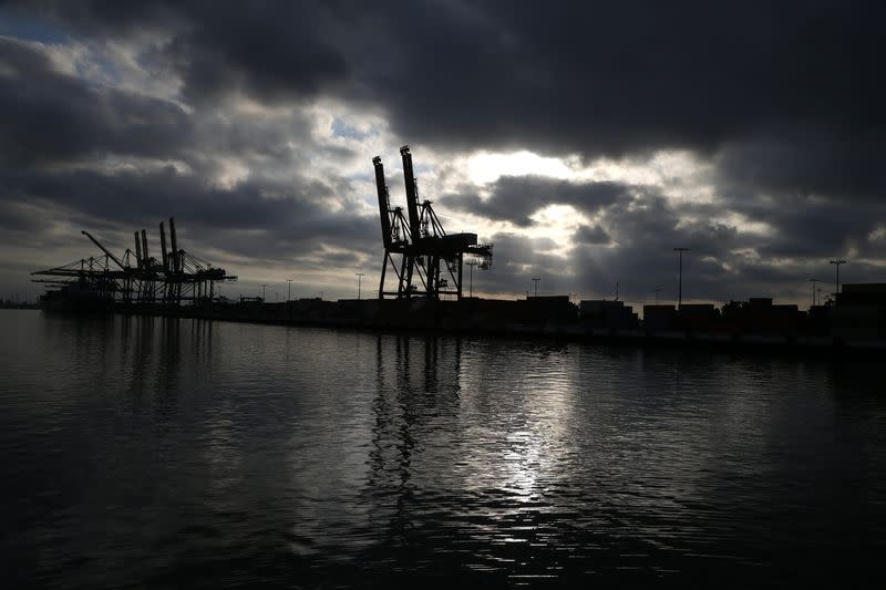 File photo of the Port of Los Angeles is seen at dawn in San Pedro