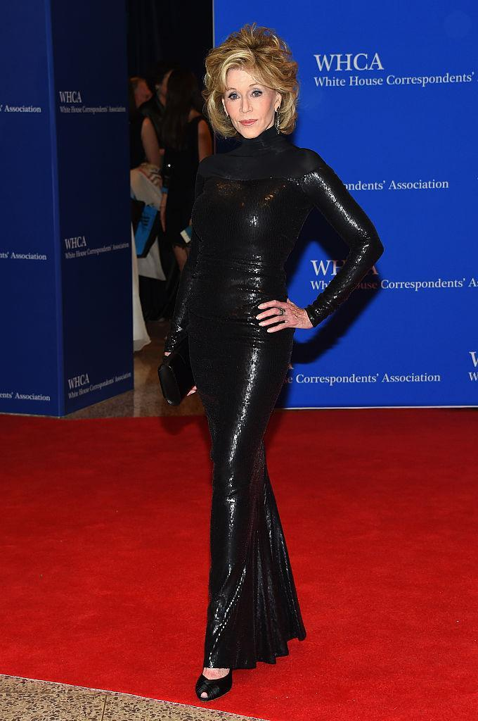 <p><strong>When: April 25, 2015</strong><br>Fonda channeled Catwoman in this sultry black Donna Karan gown at the 101st Annual White House Correspondents' Association Dinner. <em>(Photo: Getty)</em> </p>