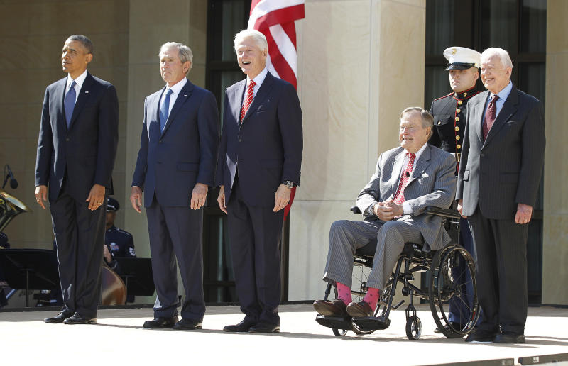 Former presidents Barack Obama, George W. Bush, Bill Clinton, George H.W. Bush and Jimmy Carter plan to attend a hurricane relief benefit in Texas on Oct. 21. (Jason Reed / Reuters)