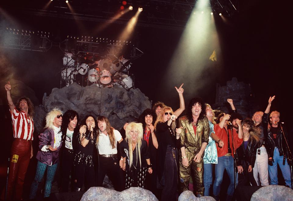 """Ronnie James Dio and friends sing Hear 'N Aid's """"Stars"""" at Irvine Meadows Amphitheatre on July 26, 1986. (Photo: Mark Weiss)"""