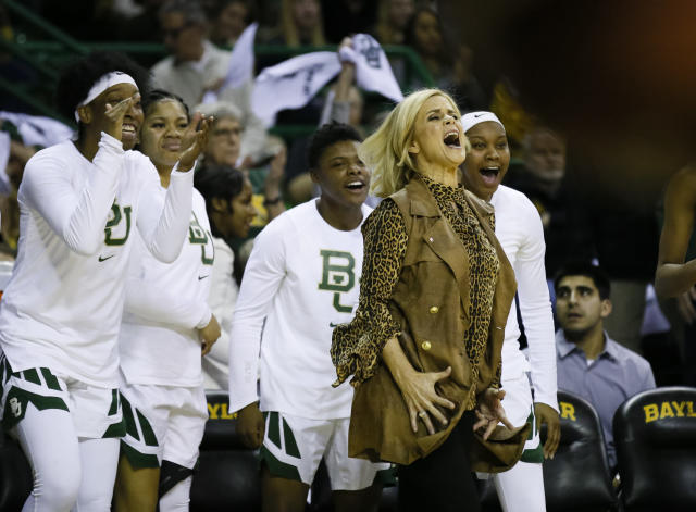FILE - In this Jan. 3, 2019, file photo, Baylor coach Kim Mulkey reacts in front of the bench to a blocked shot during the team's NCAA college basketball game against Connecticut in Waco, Texas. Mulkey has long defended her program's distinctive nickname, which certainly hasn't been a drag on the team's success. The Lady Bears have won three national titles over the past eight seasons and are positioned to make a run for another championship. (AP Photo/Ray Carlin, File)