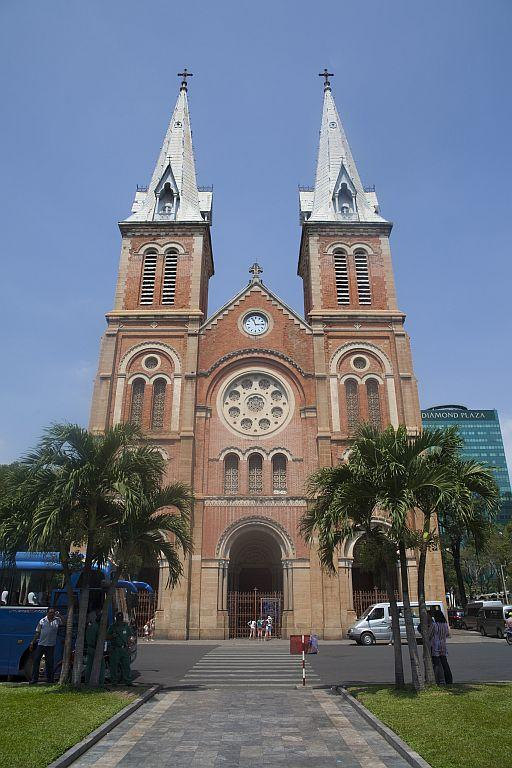 View of the Basilica of Our Lady of The Immaculate Conception, also known as the Saigon Notre-Dame Basilica in Ho Chi Minh City, Vietnam.