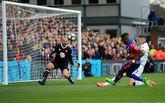 <span>Wilfried Zaha has a shot on goal</span> <span>Credit: REX FEATURES </span>