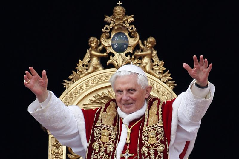 Pope Benedict XVI wearing his traditional vestments.  (Franco Origlia via Getty Images)