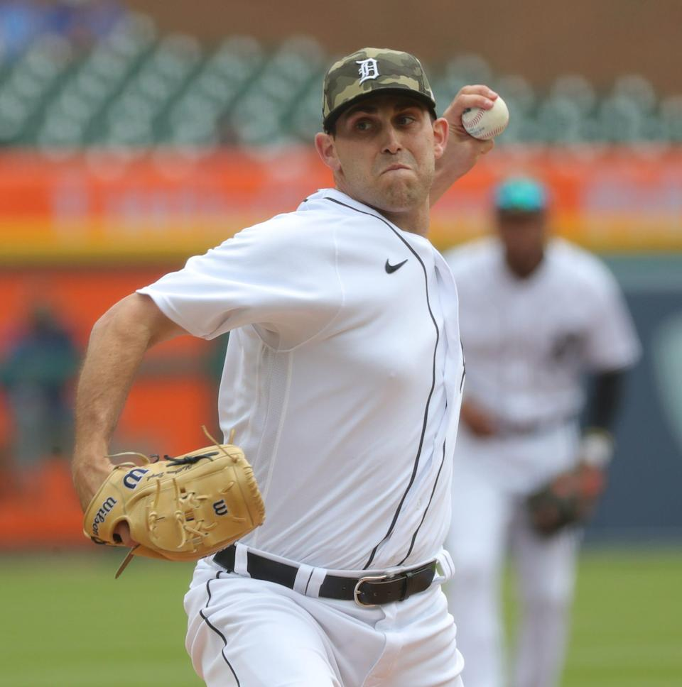 Tigers pitcher Matthew Boyd throws against the Cubs during the first inning on Sunday, May 16, 2021, at Comerica Park.