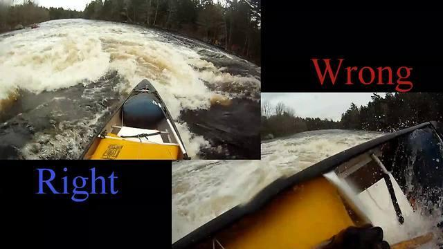 "Here's how to run a waterfall in a canoe, the right way and the wrong way. This kayaker at Bears Falls does it once successfully, but let his guard drop the second time and picked the wrong ""line"". The results are evident!"