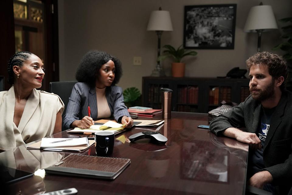 The socially conscious Ethan (Ben Platt, right) discusses a disputed police incident with his lawyer (Ayo Edebiri) and mentor (Tracee Ellis Ross) that appears in the background of his embarrassing sex tape.