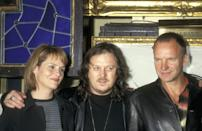 Musician Shawn Colvin, Musician Zucchero, and Musician Sting attend the Press Conference to Announce the Release of the Album 'Carnival: Rainforest Foundation Concert' on April 28, 1997 at Hard Rock Cafe in New York City, New York. (Photo by Ron Galella, Ltd./Ron Galella Collection via Getty Images)