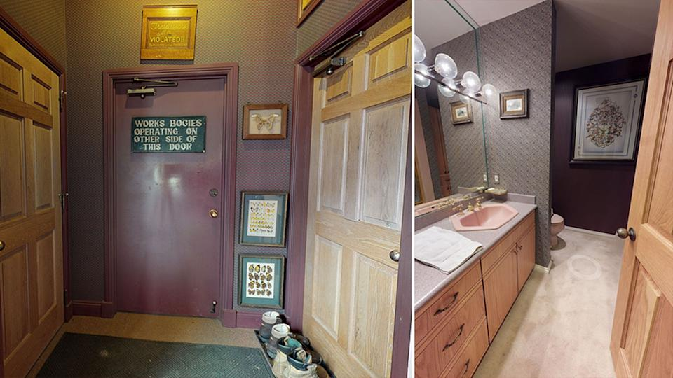 Pictured left is a photo of a dark red door with a sign on it and on the right is a carpeted bathroom.