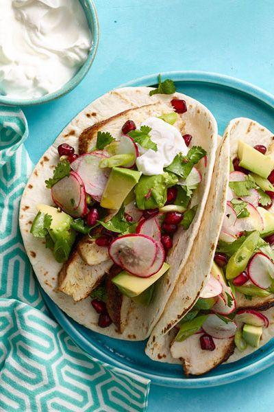 """<p>Move over, chicken: <a href=""""https://www.goodhousekeeping.com/food-recipes/g655/avocado-recipes/"""" rel=""""nofollow noopener"""" target=""""_blank"""" data-ylk=""""slk:Avocado may be the most delicious"""" class=""""link rapid-noclick-resp"""">Avocado may be the most delicious</a> (and healthiest) star of this dish. </p><p><em><a href=""""https://www.goodhousekeeping.com/food-recipes/a16386/spiced-chicken-tacos-avocado-pomegranate-salsa-recipe-wdy0315/"""" rel=""""nofollow noopener"""" target=""""_blank"""" data-ylk=""""slk:Get the recipe for Spiced Chicken Tacos with Avocado and Pomegranate Salsa »"""" class=""""link rapid-noclick-resp"""">Get the recipe for Spiced Chicken Tacos with Avocado and Pomegranate Salsa »</a></em> </p>"""