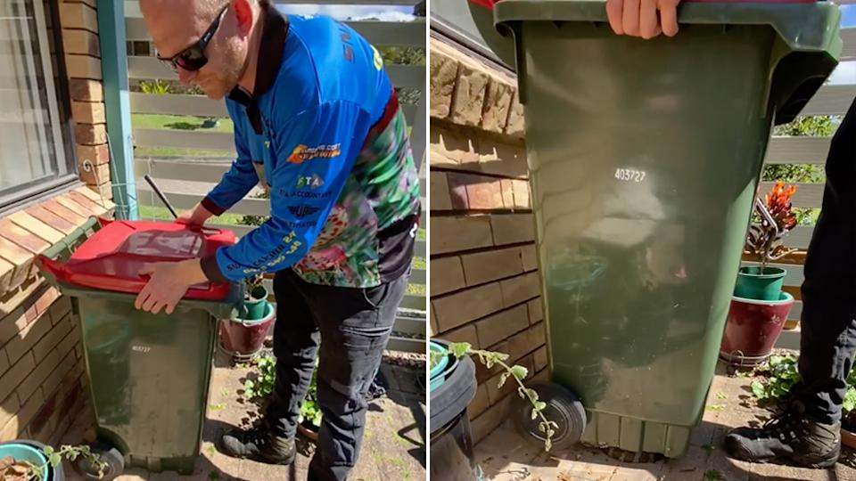 A snake catcher has been left in shock at the size of a carpet python found hiding under a garbage bin at a home on the Sunshine Cost.