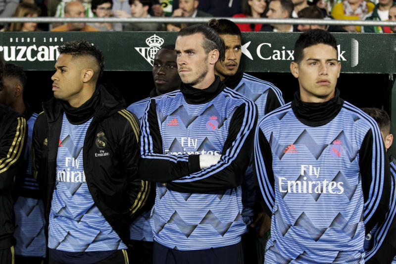 SEVILLA, SPAIN - MARCH 8: (L-R) Mariano of Real Madrid, Mendy of Real Madrid, Gareth Bale of Real Madrid, Areola of Real Madrid, James Rodriguez of Real Madrid during the La Liga Santander match between Real Betis Sevilla v Real Madrid at the Estadio Benito Villamarin on March 8, 2020 in Sevilla Spain (Photo by David S. Bustamante/Soccrates/Getty Images)