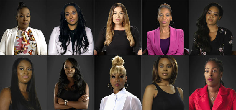 "This combination of photos provided by Lifetime shows, top row from left, Michelle Kramer, Lisa VanAllen, Lizzette Martinez, Andrea Kelly and Kitti Jones, bottom row from left, Asante McGee, Faith Rodgers, Stephanie ""Sparkle"" Edwards, Jerhonda Pace and Jovante Cunningham from the documentary series ""Surviving R. Kelly.""  The series was named one of the top ten TV shows of the year by the Associated Press. (Lifetime via AP)"