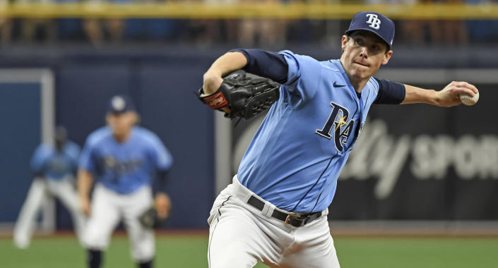 Tampa Bay Rays starter Ryan Yarbrough pitches against the Toronto Blue Jays during the first inning of a baseball game Saturday, July 10, 2021, in St. Petersburg, Fla. (AP Photo/Steve Nesius)