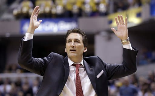 Los Angeles Clippers coach Vinny Del Negro questions a flagrant foul called on forward Matt Barnes in the second half of an NBA basketball game against the Indiana Pacers in Indianapolis, Thursday, Feb. 28, 2013. The Clippers won 99-91. (AP Photo/Michael Conroy)