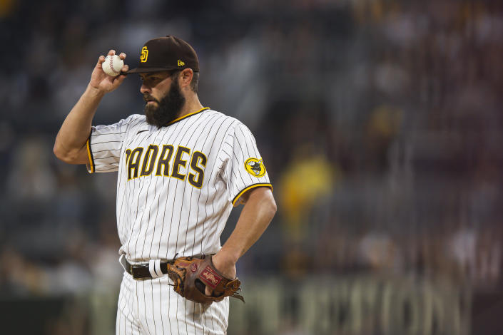 SAN DIEGO, CA - SEPTEMBER 3: Jake Arrieta #49 of the San Diego Padres pitches in the first inning against the Houston Astros  on September 3, 2021 at Petco Park in San Diego, California. (Photo by Matt Thomas/San Diego Padres/Getty Images)
