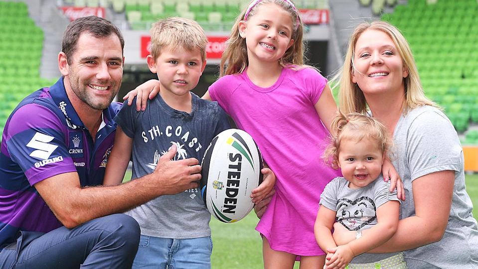 Cameron Smith, pictured here with his family in Melbourne in 2014.