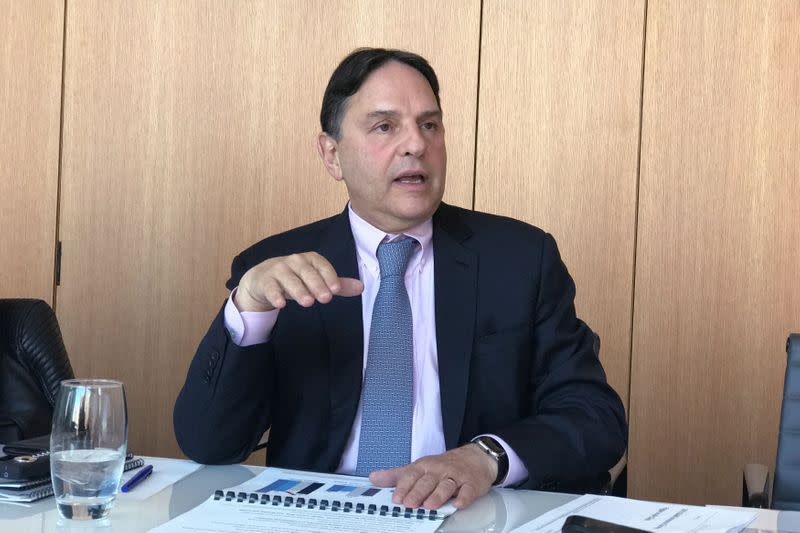 FILE PHOTO: Mike Siegel, Global Head of GSAM Insurance Asset Management, part of Goldman Sachs Asset Management, speaks at the company's headquarters in New York