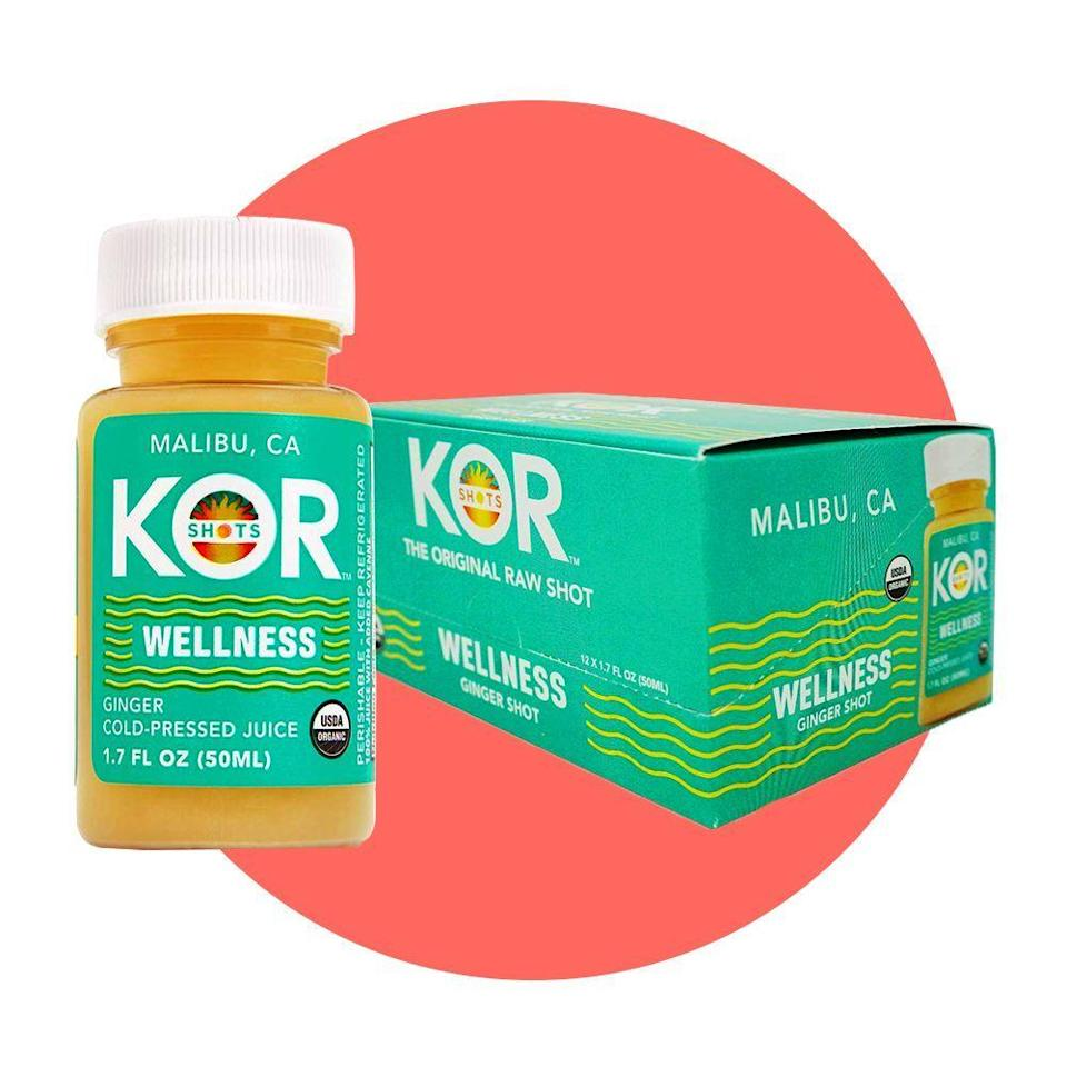 """<p><strong>Kor Shot</strong></p><p>amazon.com</p><p><strong>$91.76</strong></p><p><a href=""""https://www.amazon.com/dp/B016NZRW0G?tag=syn-yahoo-20&ascsubtag=%5Bartid%7C2089.g.34449251%5Bsrc%7Cyahoo-us"""" rel=""""nofollow noopener"""" target=""""_blank"""" data-ylk=""""slk:Shop Now"""" class=""""link rapid-noclick-resp"""">Shop Now</a></p><p>Made with organic ginger juice, lemon juice, and coconut water, these 1.7-ounce ginger shots from <a href=""""https://www.bestproducts.com/eats/drinks/g25605296/powerful-ginger-wellness-shots/"""" rel=""""nofollow noopener"""" target=""""_blank"""" data-ylk=""""slk:Kor Wellness"""" class=""""link rapid-noclick-resp"""">Kor Wellness</a> are a refreshing wellness shot to add to your diet or juice cleanse.</p>"""