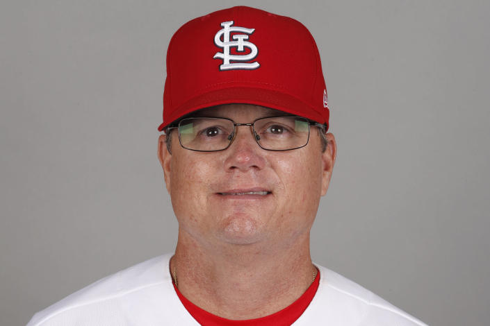 FILE - This is a 2020 photo of Mike Shildt of the St. Louis Cardinals baseball team. The Cardinals fired former National League manager of the year Mike Shildt over organizational differences Thursday, Oct. 14, 2021, just one week after St. Louis lost to the Los Angeles Dodgers on a walk-off homer in the wild-card game. (AP Photo/Jeff Roberson, File)
