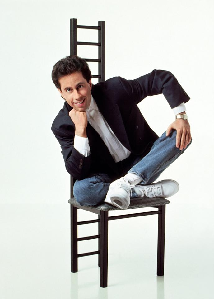 <p>Jerry means business in this his blazer and jeans combo paired with crisp, white Nike high-tops.</p>