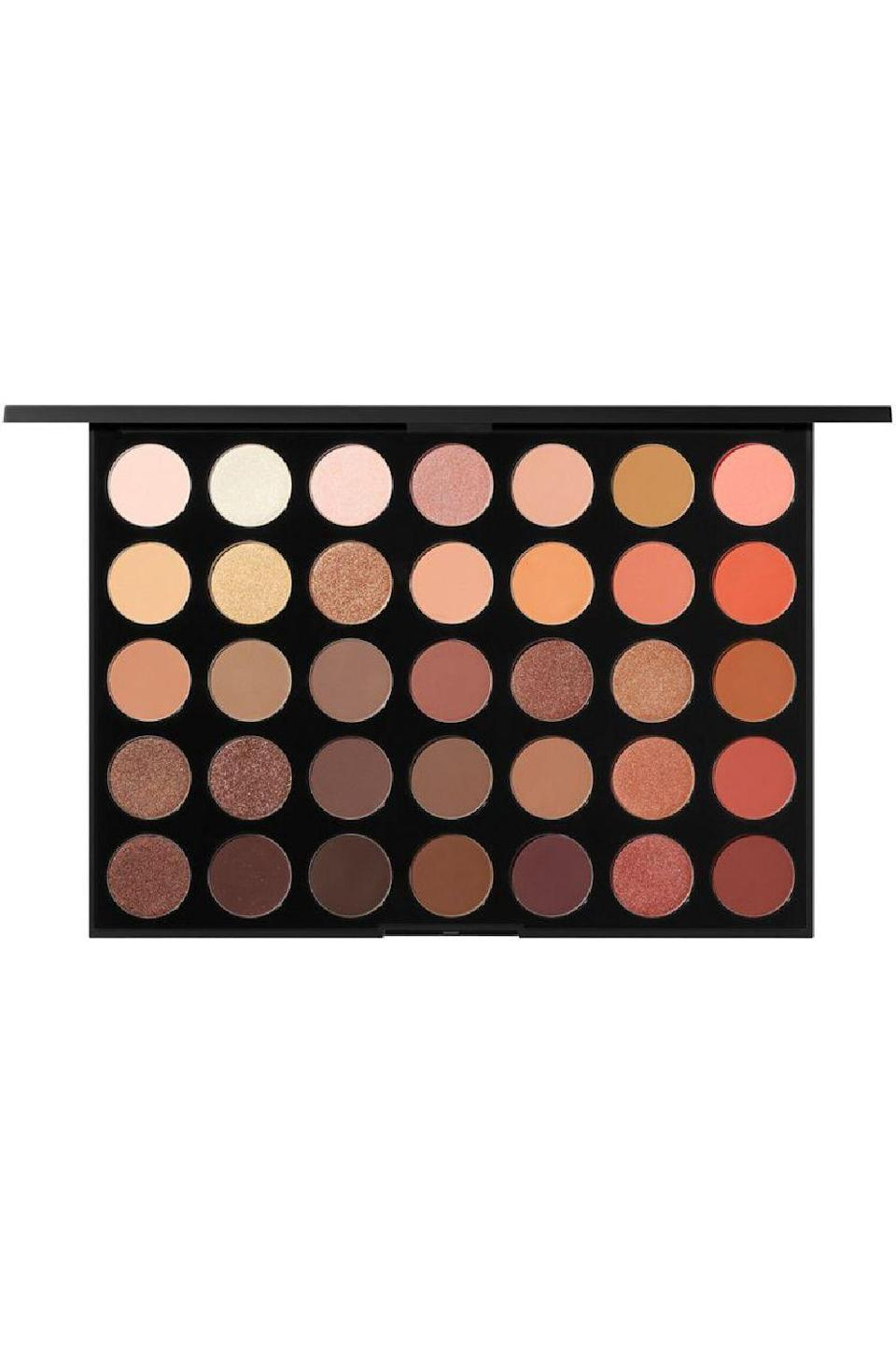 """<p><strong>Morphe</strong></p><p>ulta.com</p><p><strong>$26.00</strong></p><p><a href=""""https://go.redirectingat.com?id=74968X1596630&url=https%3A%2F%2Fwww.ulta.com%2Fp%2F35o-supernatural-glow-artistry-palette-pimprod2024720&sref=https%3A%2F%2Fwww.cosmopolitan.com%2Fstyle-beauty%2Fbeauty%2Fg36596599%2Fbest-eyeshadow-palettes%2F"""" rel=""""nofollow noopener"""" target=""""_blank"""" data-ylk=""""slk:Shop Now"""" class=""""link rapid-noclick-resp"""">Shop Now</a></p><p>This one goes out to all my friends who snatch up all the browns, bronzes, golds, and champagne eyeshadows they can find. With this palette, we're talkin' <strong>35 glorious neutrals in matte and metallic formulas</strong>. If you own the 350 Nature Glow palette, it's time to upgrade it because this 2.o version now includes 11 new shades of brown and a pop of peach.</p>"""