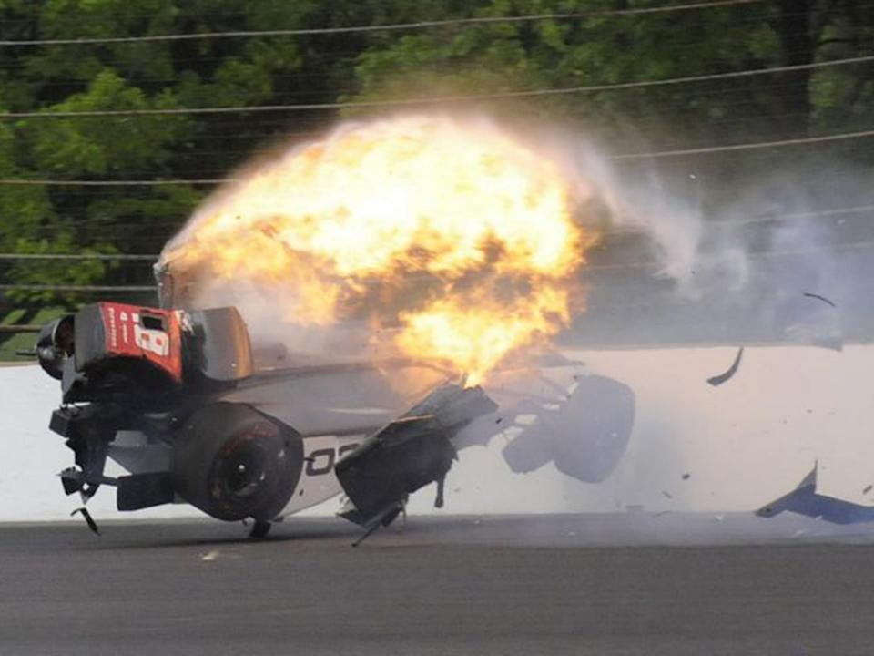 Sebastian Bourdais suffered a frightening accident during qualifying for the Indy 500 (AP)