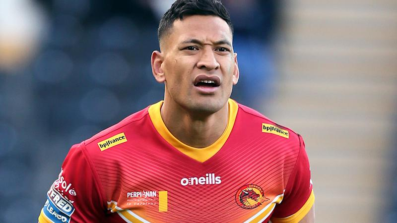 Israel Folau, pictured here in action for Catalans Dragons in the UK Super League.