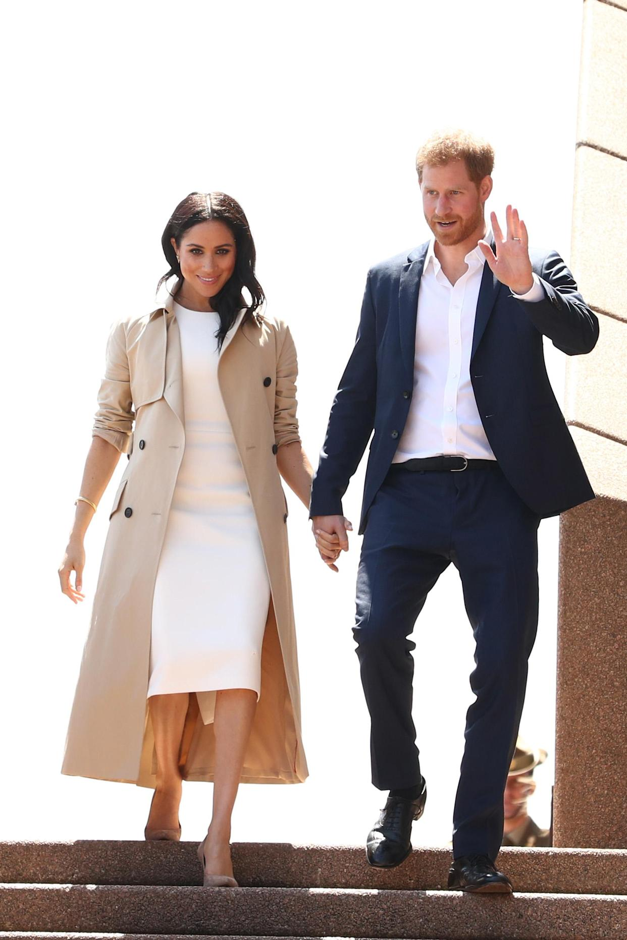The couple held hands as they came down the stairs of the Sydney Opera House. Source: Getty