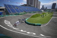 Vineta Petersone of Latvia takes the first bend during a BMX Racing training session at the 2020 Summer Olympics, Tuesday, July 27, 2021, in Tokyo, Japan. (AP Photo/Ben Curtis)