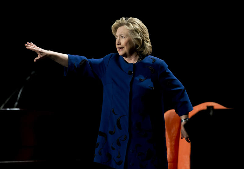 Hillary Rodham Clinton speaks to a group of supporters and University of Miami students, Wednesday, Feb. 26, 2014, in Coral Gables, Fla. (AP Photo/J Pat Carter)