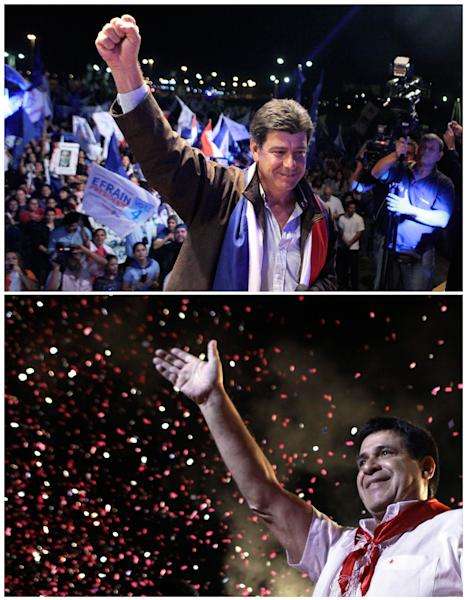 FILES - In this combination of two photographs are presidential candidates Efrain Alegre, of the Liberal Party, campaigning in Asuncion, Paraguay, on April 18, 2013, top photo, and in the bottom photo is Horacio Cartes, of the Colorado Party, campaigning in Capiata, Paraguay on April 5, 2013. Paraguay will hold general elections on April 21. (AP Photo/Jorge Saenz, Files)