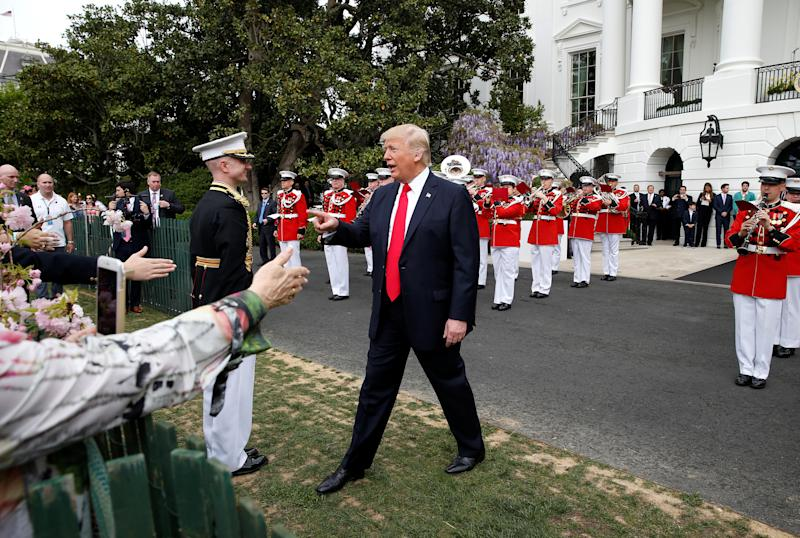 U.S. President Donald Trump greets well wishers at the 139th annual White House Easter Egg Roll on the South Lawn of the White House in Washington