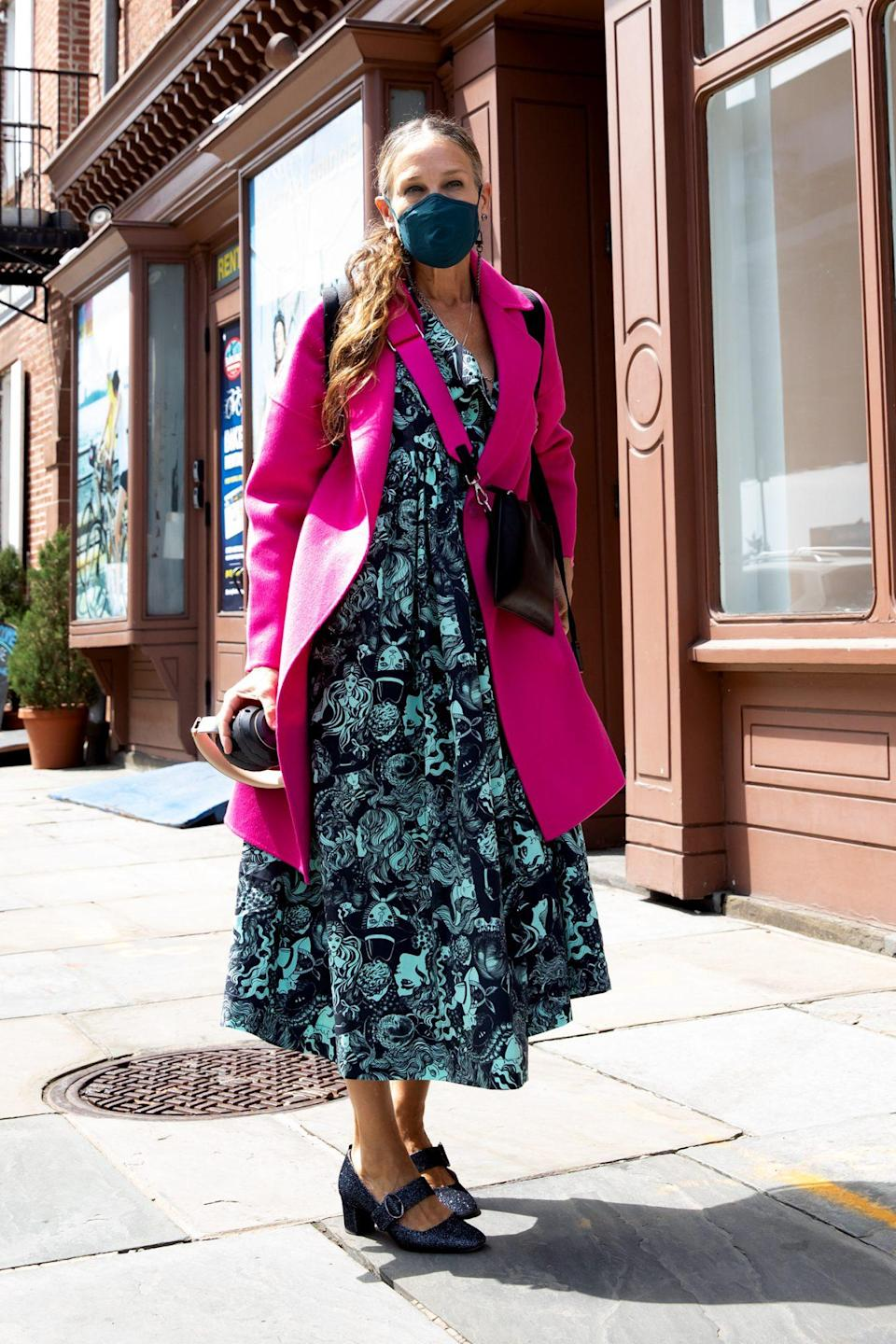 <p>Sarah Jessica Parker adds a pop of color to her ensemble in New York City on Sunday.</p>