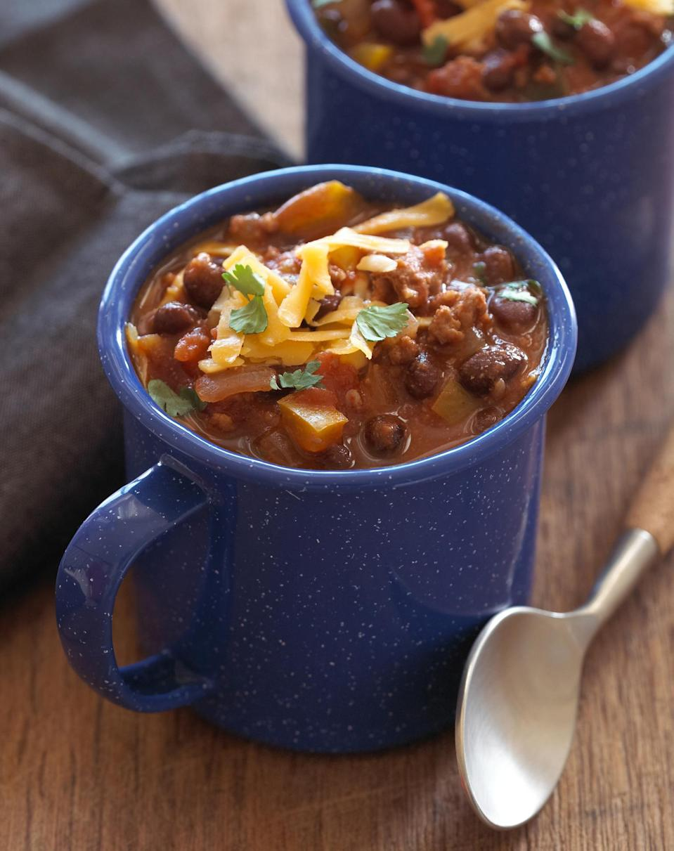 <p>It's hard to find a food more comforting than chili. This dish is particularly perfect for a potluck because you can prepare it in the morning and arrive home in the evening to the smell of a hearty chili filling your home. One way to make this meal healthier is by replacing the ground beef with turkey. While it will have the same delicious consistency, it won't be as high in fat as a traditional recipe. </p>