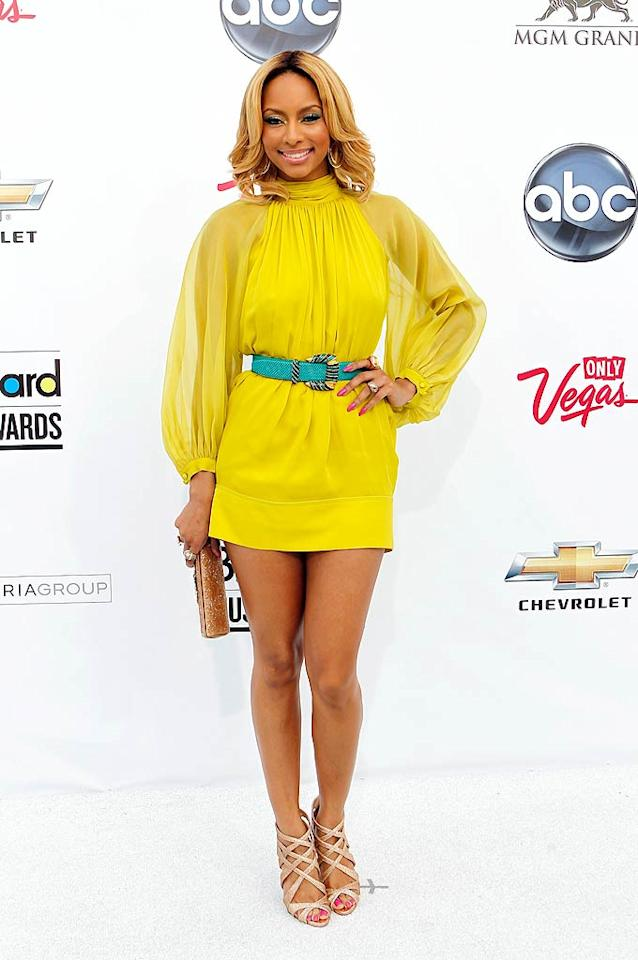 """Diva Keri Hilson was colorful in a yellow Rachel Roy mini with a turquoise belt cinched at the waist, plus pink strappy heels and a gold clutch. Isaac Brekken/<a href=""""http://www.gettyimages.com/"""" target=""""new"""">GettyImages.com</a> - May 22, 2011"""