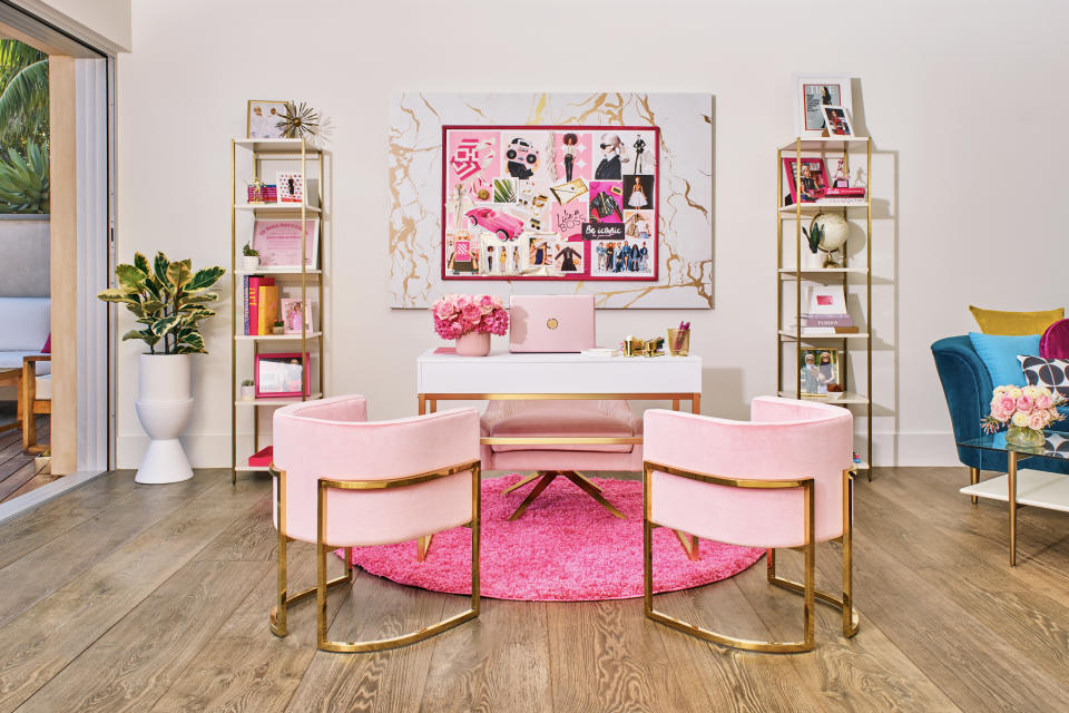 Barbie's all-pink office means business. (Photo: Courtesy of Mattel)