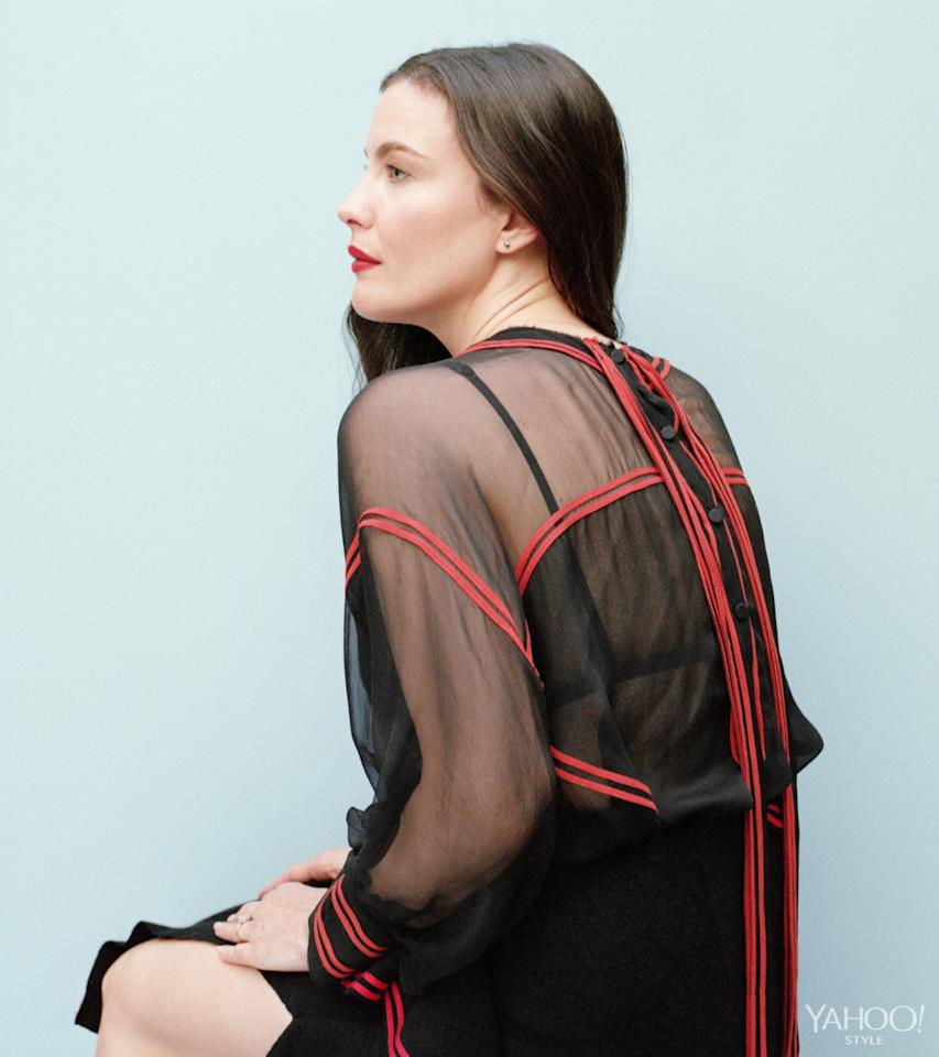 """<p>""""I'm always directing everything in life, I can't help it,"""" says Tyler. """"It's definitely a part of my nature."""" <br /></p><p><i>Givenchy Chiffon Blouse with Tape Band, $4,500, <a href=""""http://www.bergdorfgoodman.com/search.jsp?N=0&Ntt=givenchy"""">bergdorfgoodman.com</a><br />Givenchy Bra, Price Upon Request, <a href=""""https://www.givenchy.com/en/"""">Givenchy.com</a></i></p>"""